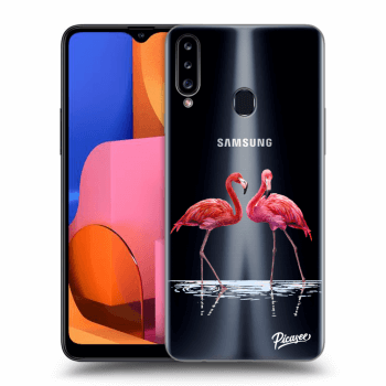 Obal pro Samsung Galaxy A20s - Flamingos couple