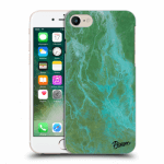 Picasee silikonový průhledný obal pro Apple iPhone 7 - Green marble