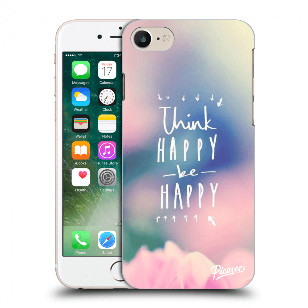 Picasee silikonový průhledný obal pro Apple iPhone 7 - Think happy be happy
